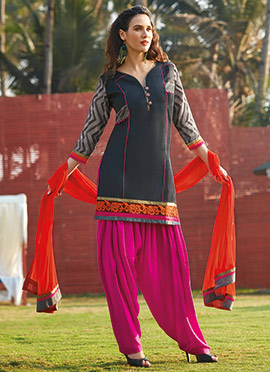 Black Chanderi Silk Patiala Suit