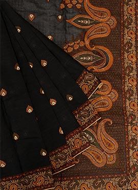 Black Chanderi Silk Saree