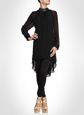 Black Chiffon Asymmetrical Tunic