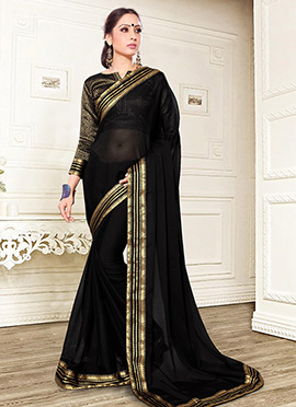 Black Chiffon Border Saree