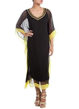 Black Chiffon Kaftan Dress