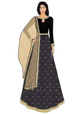 Black Close Collar Embroidered Art Silk Abaya Suit