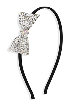 Black Color Stone Studded Bow Motif Hair Band