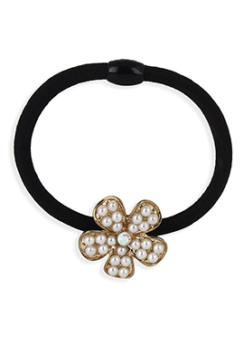 Black Colored Moti Studded Floral Rubber Band