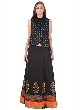 Black Cotton 9rasa A Line Lehenga Choli