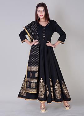 Black Cotton Anarkali Suit