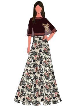 Black Cotton Embroidered Cape Skirt Set