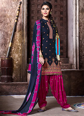 Black Cotton Embroidered Patiala Suit