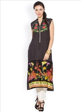 Black Cotton Floral Patterned Plus Size Kurti