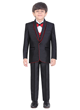Black Cotton Kids Suit