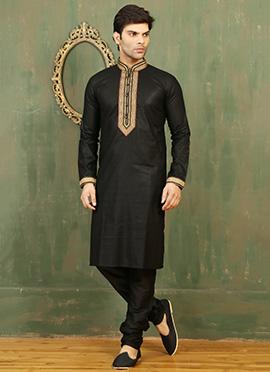 Black Cotton Linen Kurta Pyjama