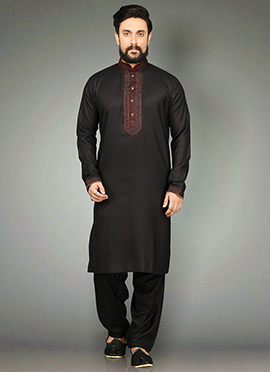 Black Cotton Linen Kurta Pyjama