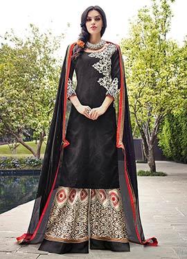 Black Cotton N Jacquard Palazzo Suit