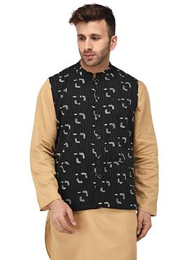 Black Cotton Nehru Jacket
