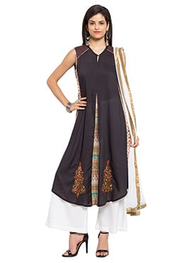 Black Cotton Palazzo Suit