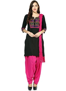 Black Cotton Semi Patiala Suit