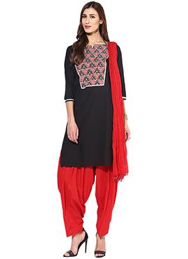 Black Cotton Semi Patiala Suit