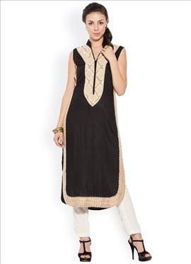 Black Cotton Plus Size Kurti