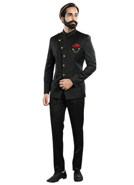 Black Cotton Rayon Bandhgala Suit