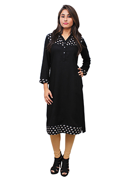 Black Cotton Rayon Kurti