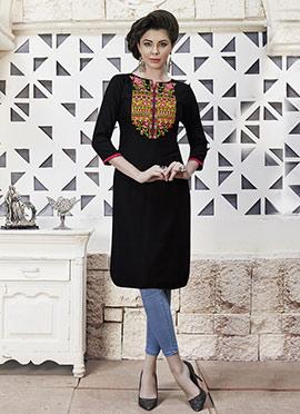 Black Cotton Rayon Kurti