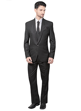 Black Cotton Rayon Lapel Suit
