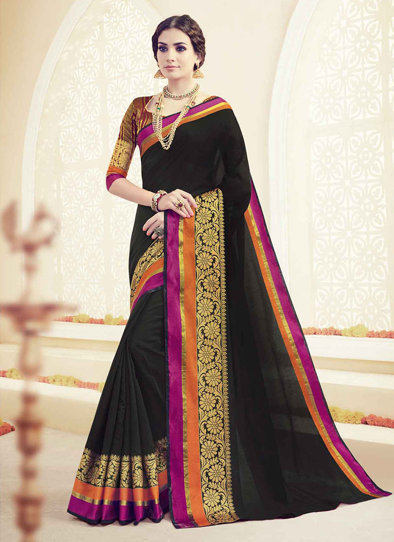 Buy Black Cotton Saree Embroidered Sari Online Shopping