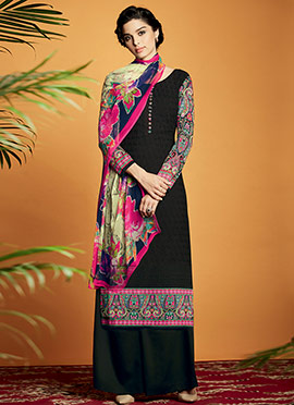 Black Cotton Satin Embroidered Palazzo Suit