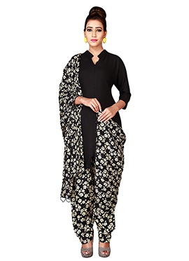 Black Cotton Semi Patiala Pant
