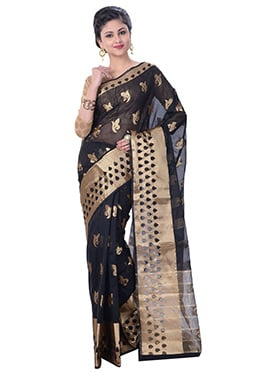 Black Cotton Silk Handloom Saree
