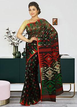 Black Cotton Silk Jamdani Saree