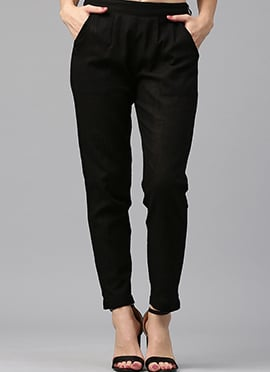 Black Cotton Straight Pant