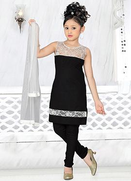 Black Cotton Teens Churidar Suit