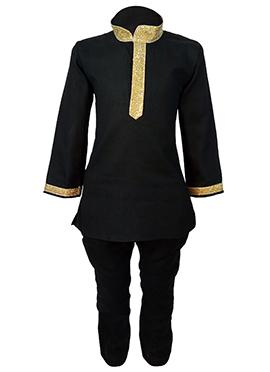 Black Cotton Teens Kurta Pyjama