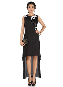 Black Crepe Low N High Dress