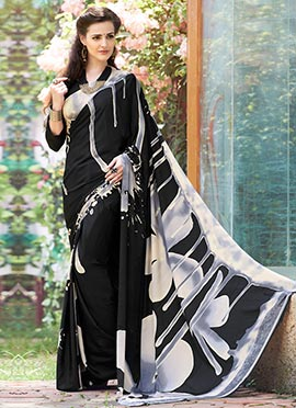 Black Crepe Printed Abstract Designed Saree