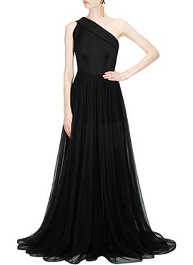 Black Crepe Silk N Net One Shoulder Gown