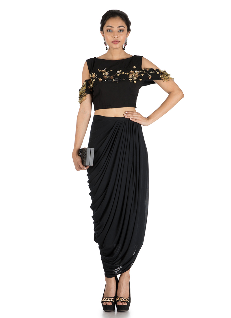 5660f96a29 Buy Black Crop Top N Dhoti Skirt Set, Sequins , Embroidered ...