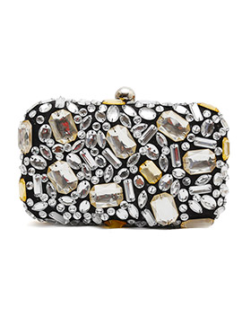 Black Crystals Embellished Stylish Box Clutch