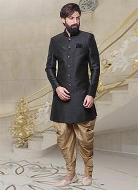 Black Dhoti Style Indo Western Sherwani