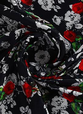 Black Digital Printed Modal Satin Fabric
