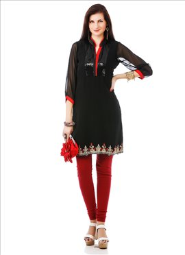 Black Embellished Georgette Kurti