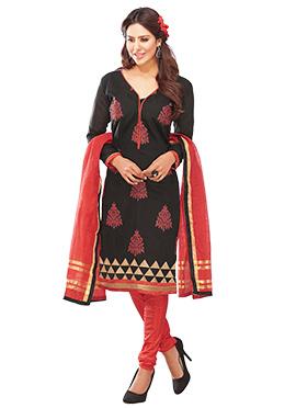 Black Embroidered Churidar Suit