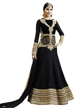 Black Embroidered Georgette Anarkali Suit
