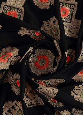 Black Embroidered Georgette Fabric