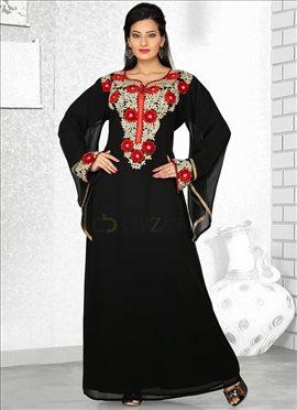 Black Embroidered Georgette Fustan