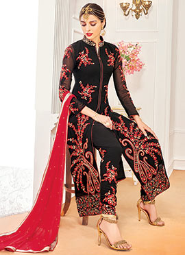Black Embroidered Georgette Straight Suit