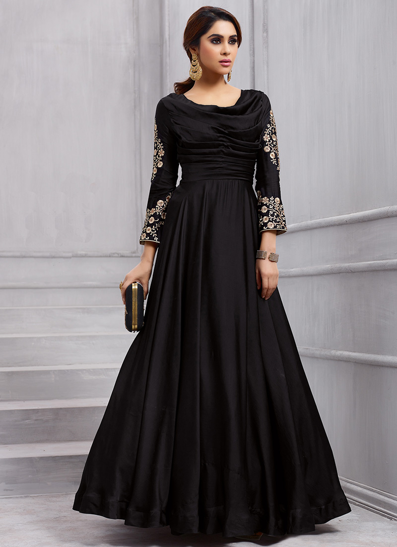 Buy Black Embroidered Gown, Embroidered, dresses and gown Online ...
