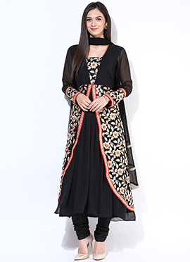 Black Embroidered Layered Anarkali Suit