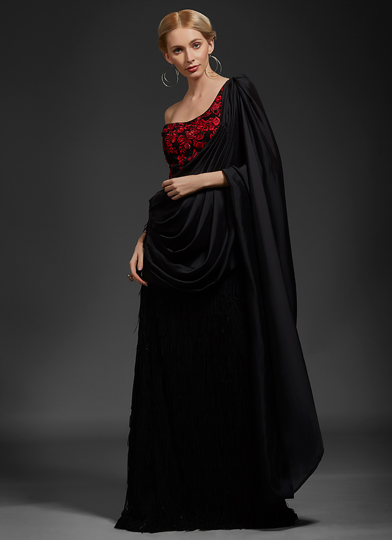 Buy Black Embroidered One Shoulder Saree Gown, Embroidered, dresses ...